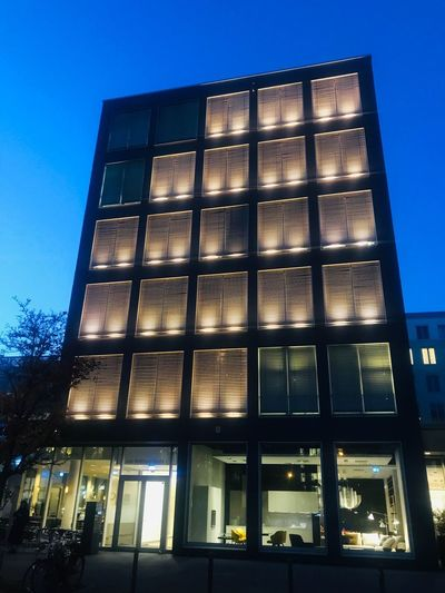 Lights Architecture Berliner Ansichten Berlin Built Structure Architecture Low Angle View Sky Building Exterior No People Building Clear Sky Illuminated City Dusk Office Building Exterior Capture Tomorrow