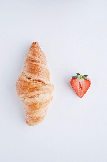 Croissant Strawberry Breakfast Minimalism