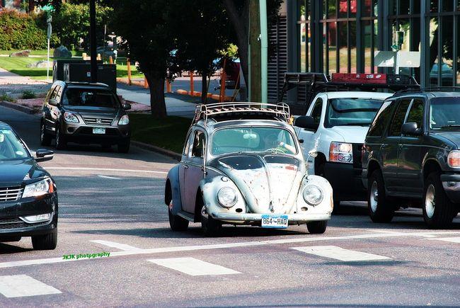 Beetle Boyfriend Car City City Life Colorado Denver Downtown Fun Old Beetle Roof Rack Street Sunlight Traffic Travel Vacation Volkswagen