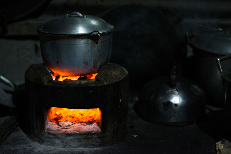 Close-up of cooking utensil on stove