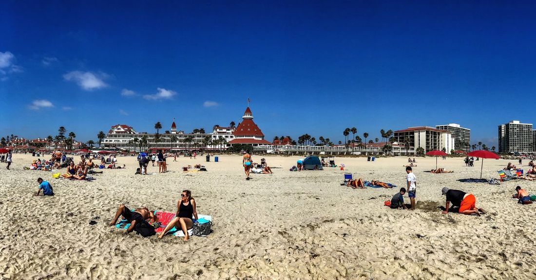 Hotel Del Coronado Beachphotography Pacific Ocean Large Group Of People Beach Vacations Sand Blue Leisure Activity Lifestyles Tourist Relaxation Sea Tourism Water Travel Mixed Age Range Person Shore Fun Togetherness Travel Destinations Enjoyment