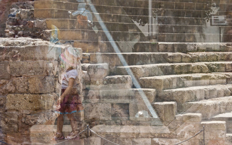 Spectral reflections Old Vs New Ancient Architecture Ancient Ruins Ancient Stones Architectural Remains Architecture Building Exterior Built Structure City Day Little Girl Motion Outdoors People Roman Theatre Staircase Steps Steps And Staircases