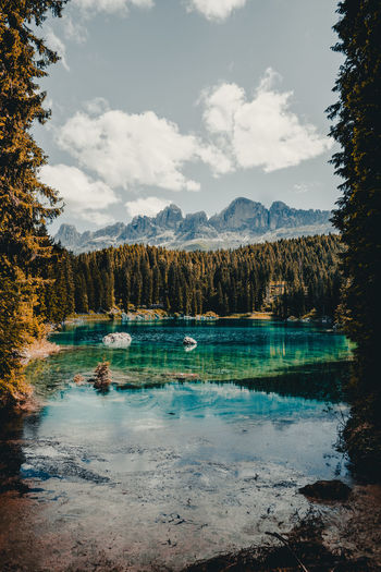 Beauty In Nature Cloud - Sky Day Environment Idyllic Lake Mountain Nature No People Non-urban Scene Outdoors Plant Reflection Remote Scenics - Nature Sky Tranquil Scene Tranquility Tree Turquoise Colored Water
