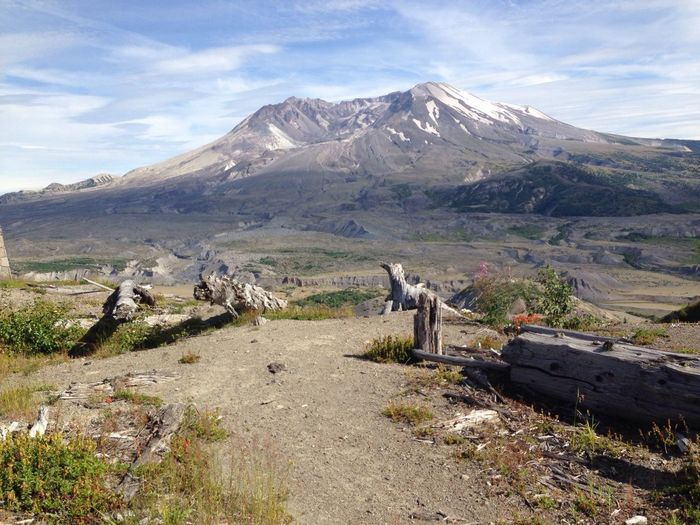 Scenic view of mount st helens against sky