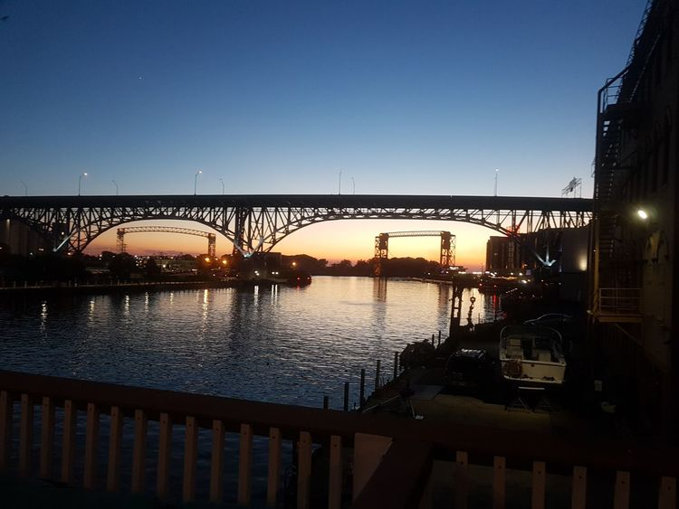 Sunset Docks Cleveland City Water Clear Sky Cityscape Bridge - Man Made Structure River Silhouette Business Finance And Industry Sky