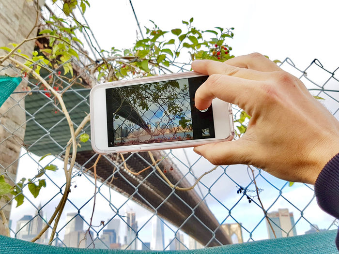 Man taking photo of manhattan an manhattan bridge in autumn Outdoors Day Manhattan Human Hand Hand Human Body Part One Person Wireless Technology Technology Communication Photography Themes Photographing Smart Phone Portable Information Device Finger Lifestyles Body Part Fence