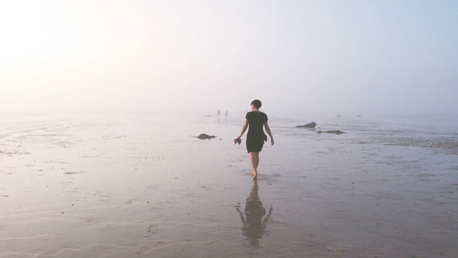 Rear View Of Woman Walking On Beach Against Clear Sky