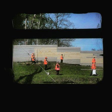 Railway workers, Russia Spring Window Rzd Railway Railroad Everydayeverywhere Russia Everydayrussia Workers РЖД окно электрички электричка МосковскаяОбласть рабочие весна веснапродолжается