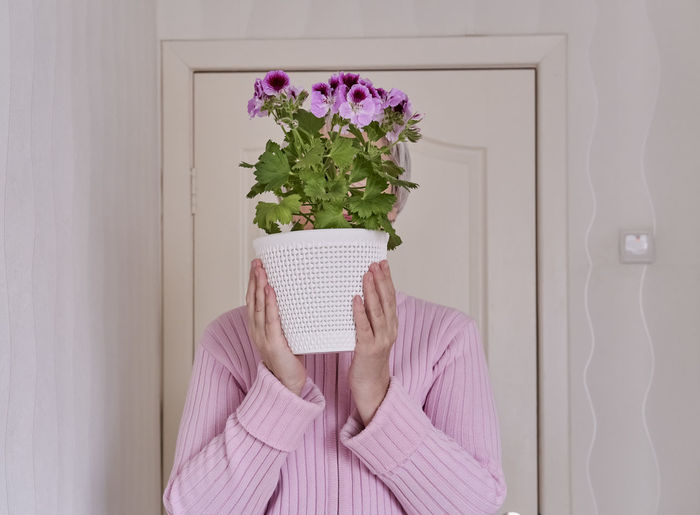 Midsection of person holding pink flower against wall