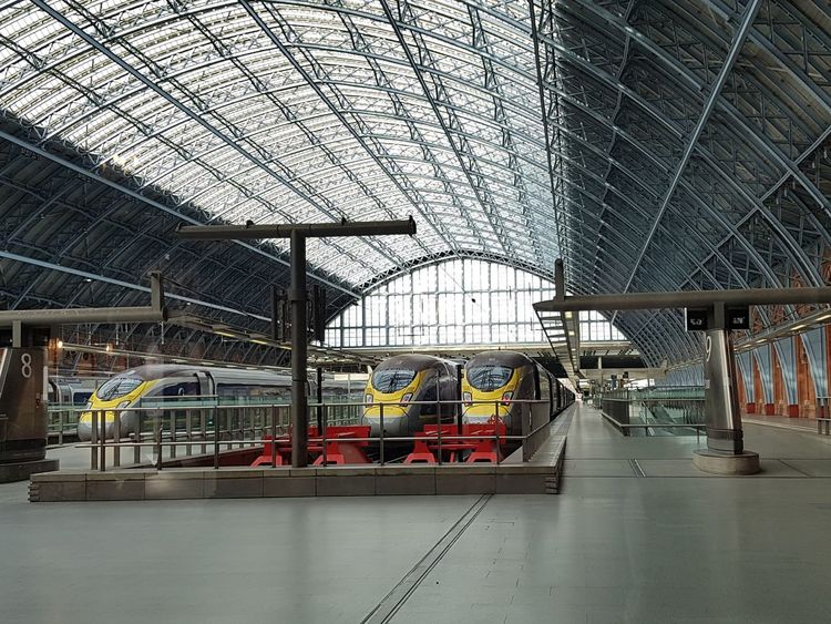 E320 Eurostar Trains at London St Pancras International UK 2018 Great Britain Travel Travel Photography Travelphotography Eurostar Eurostar Train Eurostar Trains Eurostars Eurostar Terminal London St Pancras Uk England England, UK Great Britain Tourist Attraction  Tourist Destination United Kingdom Indoor Photography 2018 2018 Year 2018 EyeEm Railways London LONDON❤ Built Structure Transportation No People Indoors  Industry Architecture Day