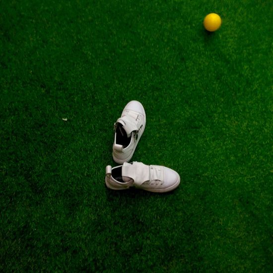 High angle view of ball on golf course