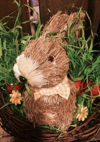Easter Ready Bunny  Rabbit Straw Basket Easter Rabbit Decoration Decoration