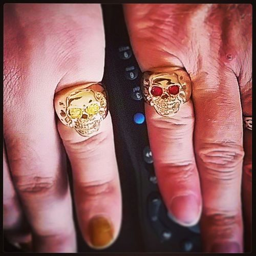 Happy birthday to me! And my man! Incredible exclusive LeandroSouza designed and made skull rings with yellow and magenta Tourmaline eyes! Love! Perfection Skulls birthday
