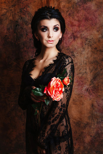Fashion Flowering Plant Holding Flower Looking At Camera Mua Standing Studio Brunette Dressing Gown Flower Flower Head Front View Hairstyle Holding Lingerie Lingerie Model Lingerie Shoot Make Up Roses Rosé Studio Shot