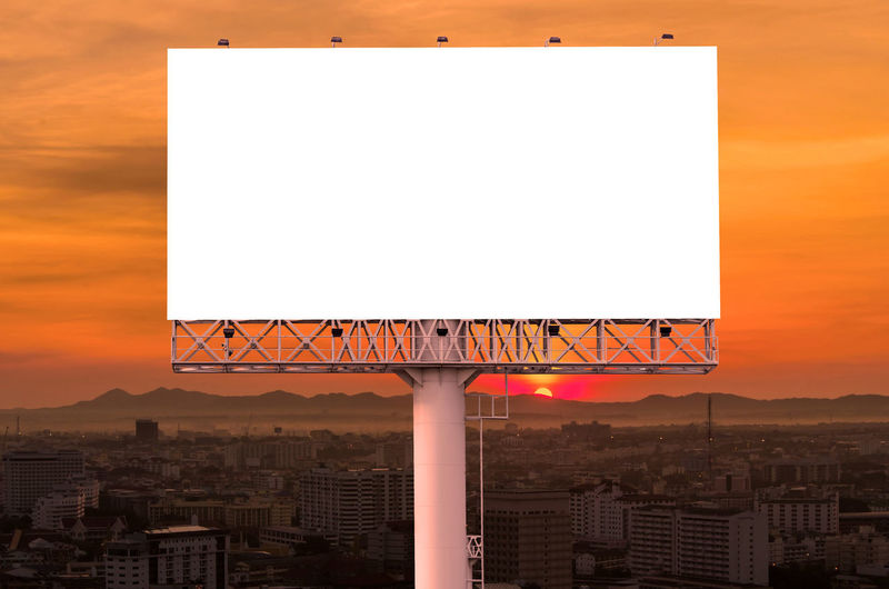 Architecture Built Structure Copy Space Billboard Blank Building Exterior Orange Color City Advertisement Sky No People Sunset Communication Outdoors Sign Nature Sport Commercial Sign Basketball - Sport Placard Message