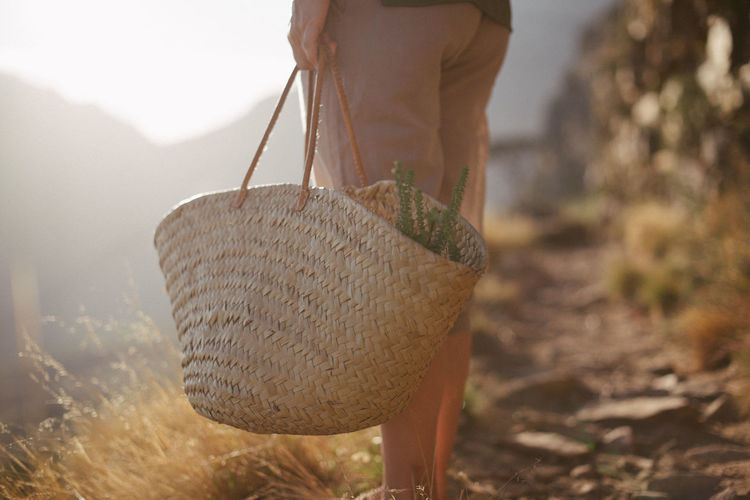 Low section of man holding basket on land