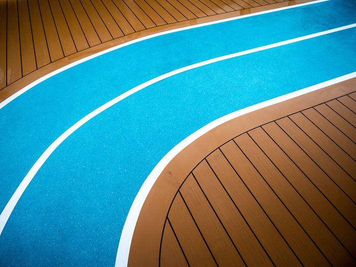 Architecture Blue Brown Close-up Court Curve Day Empty High Angle View Multi Colored No People Outdoors Pattern Sport Sports Venue Stadium
