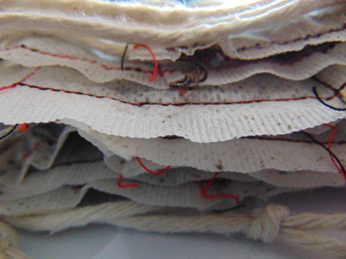 Art, Drawing, Creativity ArtWork Black And Red Charman Clark Art Work Close-up Stiching Tea Bag Wool