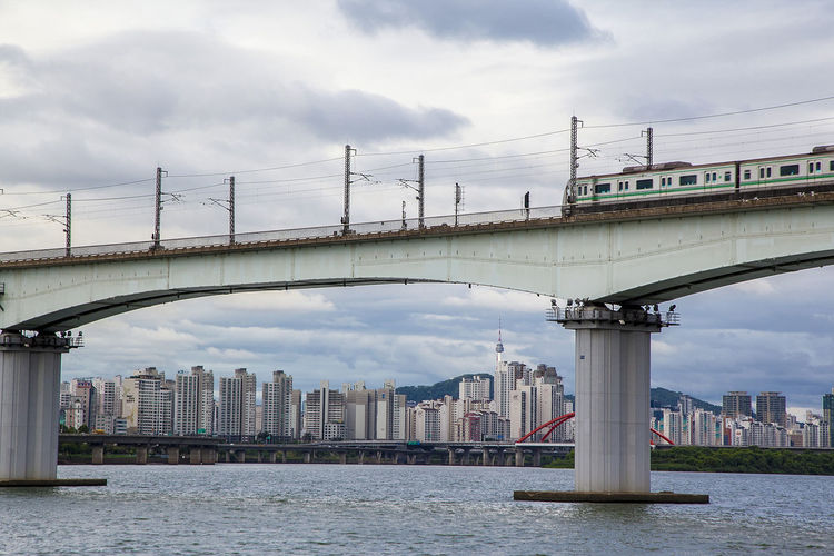 Han River Dangsan Rail Road Bridge Sky Cloud Seoul South Korea Korea