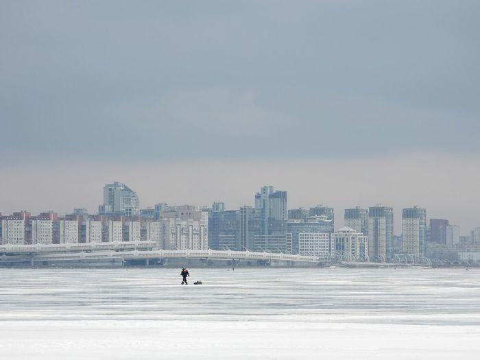 Walking on frozen sea