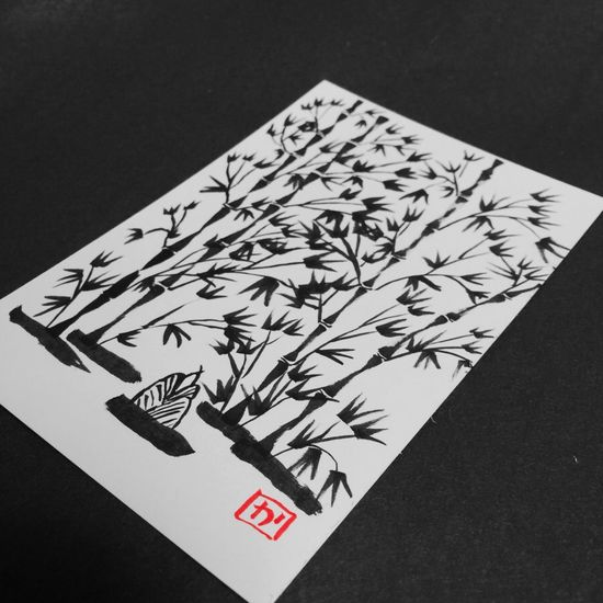 Bamboo Calligraphy Painting Sumi-e Brush Japanese  Art Japan Blackandwhite Red Kyoto