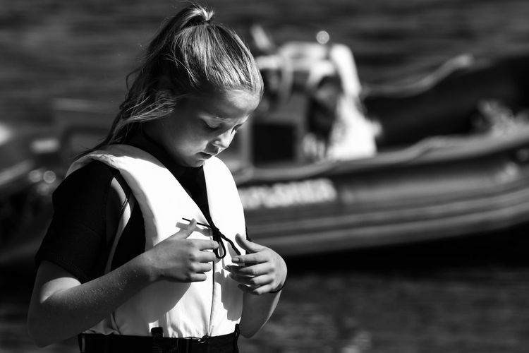 Girl in lifewest. Blackandwhite Casual Clothing Close-up Day Focus On Foreground Holding Leisure Activity Lifestyles Lifewest One Person Outdoors Real People Standing Young Adult Young Women