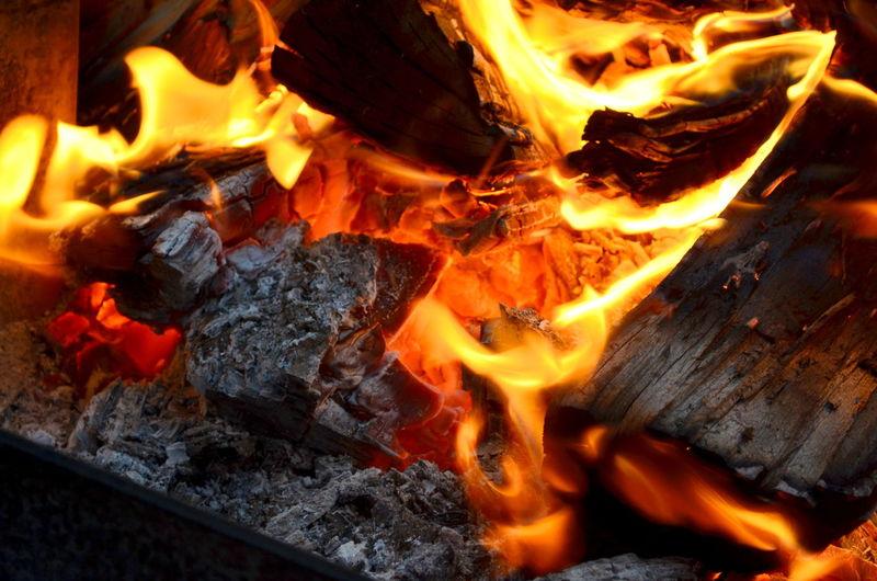 Close-Up Of Burning Firewood