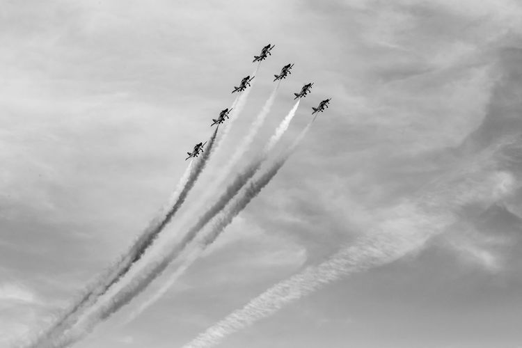 Teamwork Airshow Cooperation Air Vehicle Cloud - Sky Airplane Low Angle View Sky Fighter Plane Flying Motion Speed Plane Smoke - Physical Structure Mode Of Transportation on the move Vapor Trail Arrangement Transportation Nature Order No People Outdoors Aerobatics Blackandwhite Black And White Black & White Skyporn
