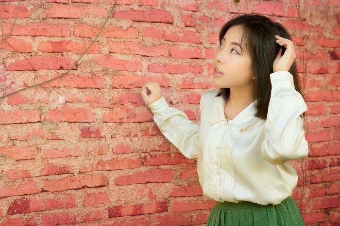 Child Childhood Girls Red Portrait Elementary Age Brick Wall