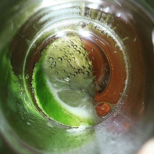 Focus Macro Corona Lime Drink Cold Temperature Directly Above Close-up Food And Drink Beer Carbonated Bubble Alcoholic Drink Glass