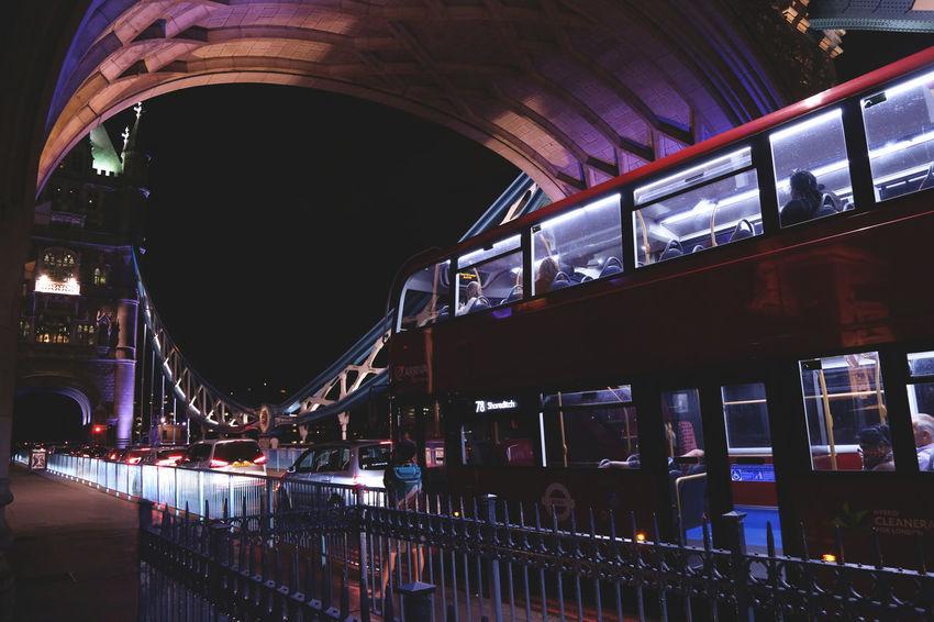 Bridge Traffic - London London Lifestyle Tower Bridge  Arch Architecture Bridge - Man Made Structure Built Structure Bus City Illuminated London_only Night Transportation Travel Destinations