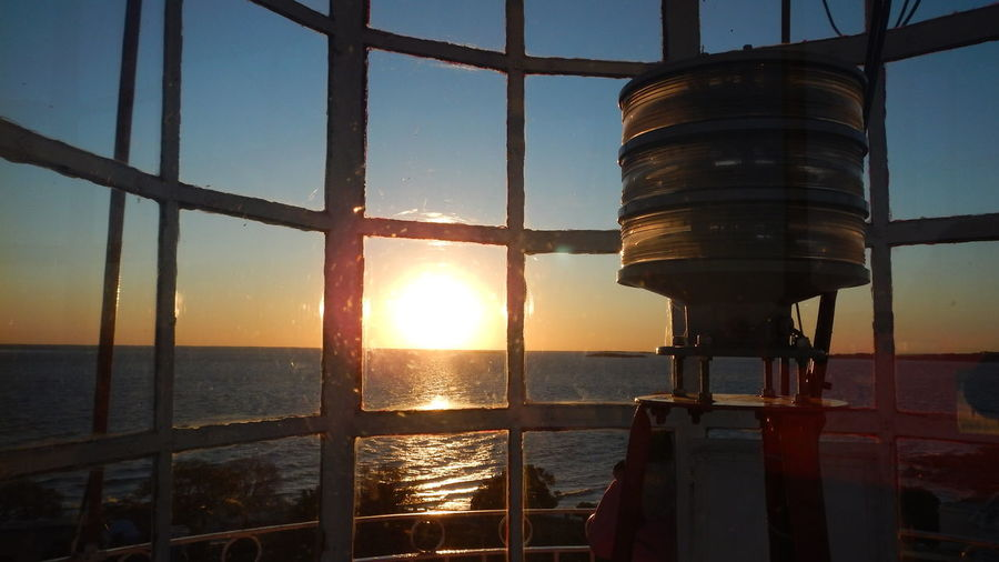 View inside a lighthouse Architecture Inside A Lighthouse Lighthouse Metal No People Sea Sky Sunset Travel Destinations Viewpoint