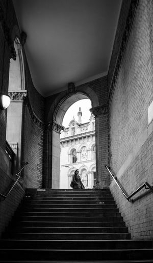Arch Arched Architecture Building Exterior Built Structure City Life Entrance Holborn Viaduct Incidental People Leading London Low Angle View Moving Up Railing Staircase Stairs Steps Steps And Staircases The Way Forward