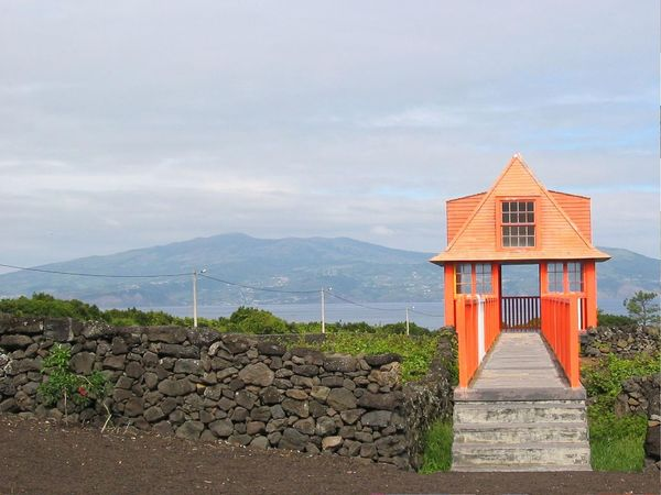 View from Pico Island to Faial, Faial Island on the horizon, Azores, Portugal Architecture Azores Blue Building Exterior Built Structure Exterior Island Mountain No People Orange Outdoors Scenics Seaside Sky Tourism Tranquil Scene