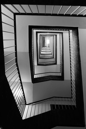 Architecture Blackandwhite In A Row Indoors  No People Sony A6000 Spiral Spiral Staircase Staircase Way Up Tempelhof Airport