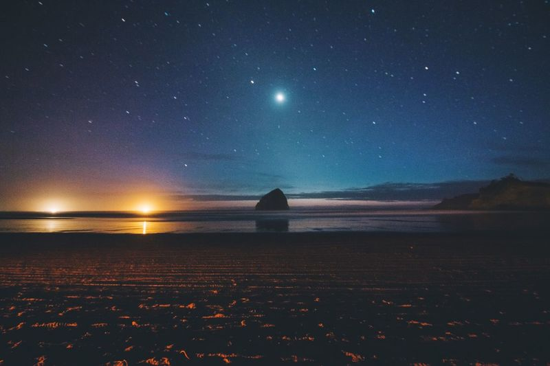 kiwanda nights Scenics Beauty In Nature Star - Space Night Sea Nature Sky Tranquility Astronomy Tranquil Scene Horizon Over Water Water Outdoors Clear Sky Galaxy No People Fresh On Market 2017