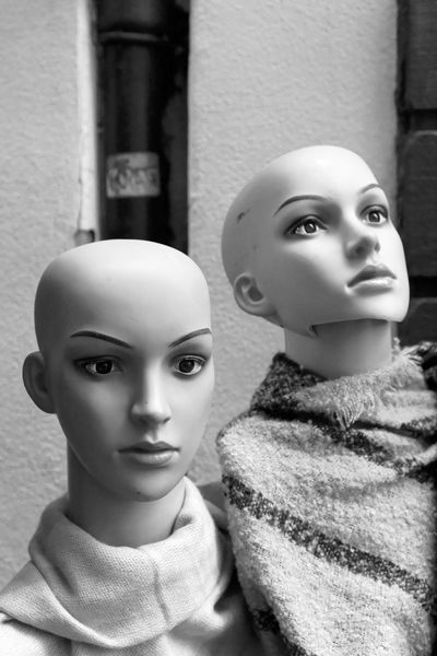 Oxford Metaphysica Textiles Blackandwhite Close-up Day Fashion Female Likeness For Sale Human Representation Mannequin Monochrome No People Pair Retail  Retail Display Store Two