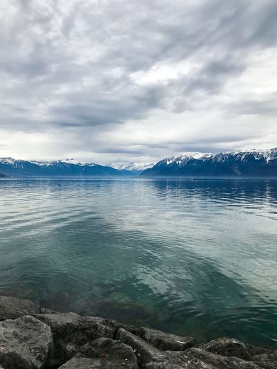 Horizon Mirror Cloudy Landscape Snow Mountains Water Lake Lausanne Switzerland Water Cloud - Sky Sky Beauty In Nature Sea Scenics - Nature The Great Outdoors - 2018 EyeEm Awards Tranquility Nature Outdoors