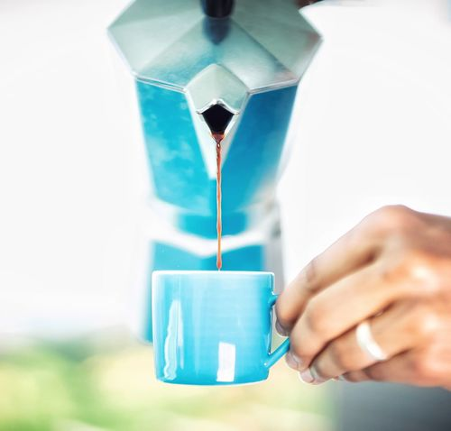 Close-up Coffee Coffee Cup Coffee Maker Coffee Time Colors Day Espresso Human Body Part Human Hand Indoors  Moka Pot One Person People Real People Sunny