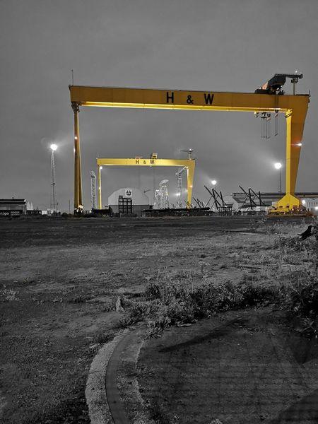 Giants of Industry Crane Shipyard Norn Iron Belfast Harland&Wolff Harland And Wolff Docks Shipbuilding Horizon Dawn Yellow Business Finance And Industry Height