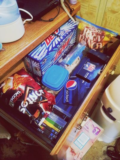 Our Drawer Of Snacks(: Pepsi Doritos Locos Taco Doritos GerberFormula #RaginRanchChips #Donuts #Resses #Ps3Games #Dvds #MountainDew #WhiteOut #ImASpoiledGirl #HeLovesMe #LateNightSnacks