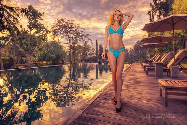 Shot by quality pixels That's Me Hello World Relaxing Taking Photos Enjoying Life Check This Out Hanging Out Cheese! Photography Blue Eyes Victoriah Bali Swimming Pool Bikini Blue Bikini Sunset_collection Hot Girl ..
