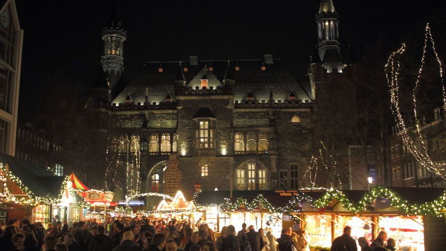 Aachen Aachener Rathaus Aachener Weihnachtsmarkt Architecture Building Exterior Celebration Christmas Christmas Decoration Christmas Tree City Illuminated Leisure Activity Lifestyles Night