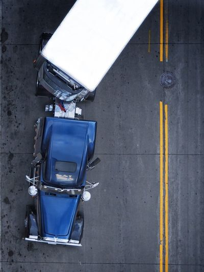 Directly Above Shot Of Semi-Truck On Road