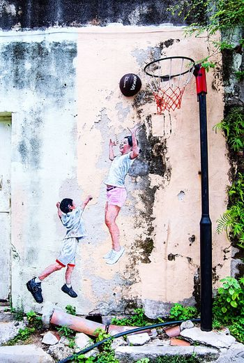 Street Art Sport Basketball Authentic Colorful Georgetown Malaysia Penang Southeastasia Asian  Day Travel Contemporary Culture Art Streetart Graffiti Wall Graffiti Art Wall Art Graffiti Mixedmedia Kids Boy Girl Sport