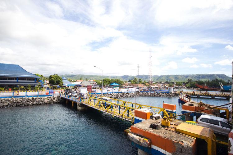 ship. Beautiful sea and sky. travel. Asian port ASIA Beautiful Nature Sky. Travel Blue Port Sea Ship