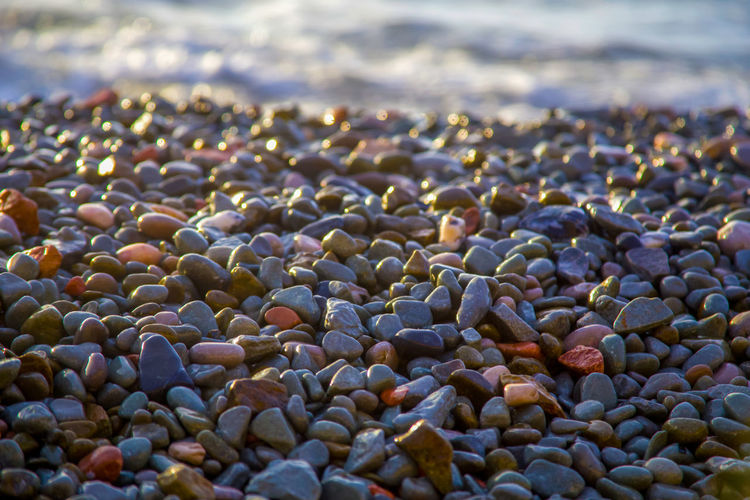Abstract background with wet sea pebbles, lit by the rising sun on the beach. Land Beach No People Abundance Pebble Nature Water Day Rock Stone - Object Close-up Selective Focus Large Group Of Objects Solid Stone Sea Focus On Foreground Outdoors Tranquility Backgrounds Textured  Rising Sun Tranquility Sea Stones Wet Stones Stones And Pebbles My Best Photo