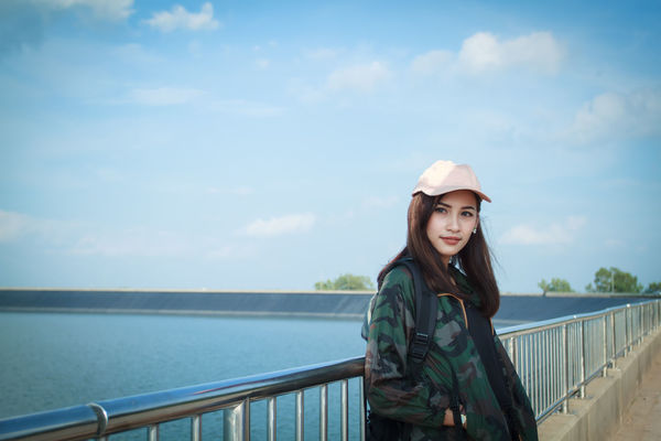 Adult Adults Only Beauty Beauty In Nature Cloud - Sky Day Happiness Knit Hat Leisure Activity Long Hair Nature One Person One Woman Only One Young Woman Only Only Women Outdoors People Portrait Sky Smiling Standing Young Adult Young Women