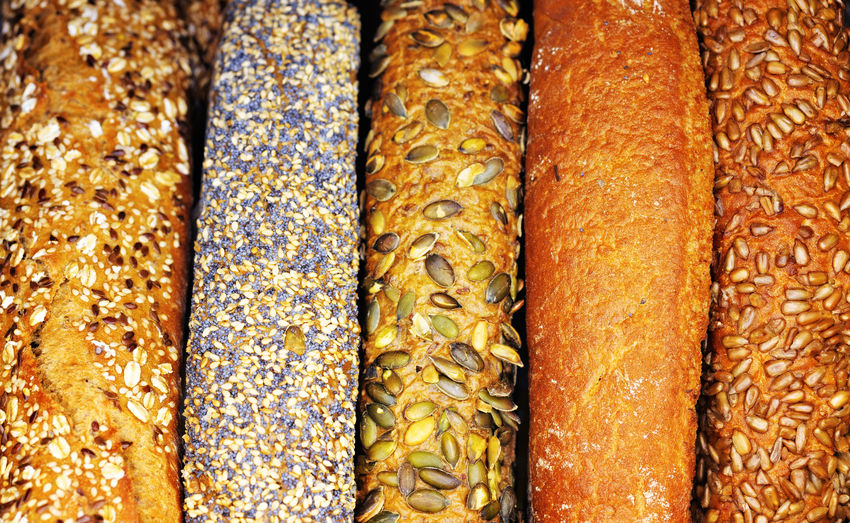 Different kinds of bread Baguette Breakfast Cereal Freshness Loaf Of Bread Meal Wheat Bake Bakery Bread Brown Crust Different Food Food And Drink For Sale Freshness Full Frame Gourmet Grain Healthy Eating In A Row Pastry Tasty Various