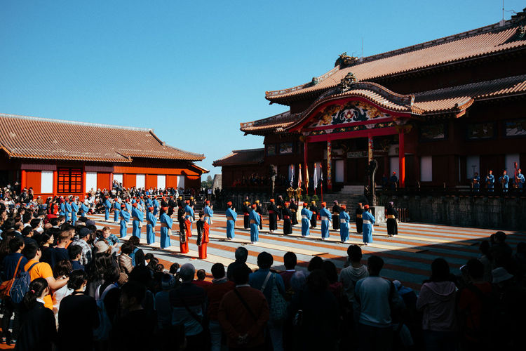 Imperial Palace Japanese  Shuri Castle Architecture Building Building Exterior Built Structure Clear Sky Crowd Day Group Of People Large Group Of People Leisure Activity Lifestyles Men Palace Real People Shuri Sky Travel Destinations The Traveler - 2018 EyeEm Awards